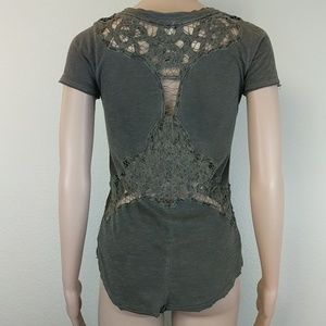 [Free People] Green Crochet Knit Open Back Top XS